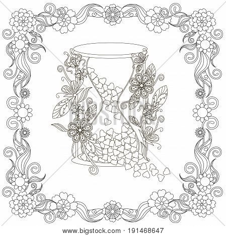 Monochrome doodle hand drawn hourglass with harts, in flowers frame. Anti stress stock vector illustration