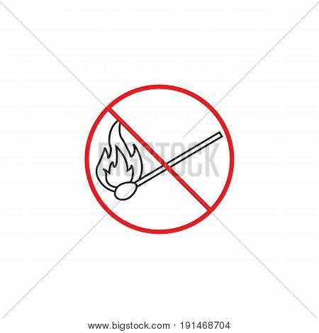 No fire line icon, no open flame red prohibited sign, vector graphics, a linear color pattern on a white background, eps 10.