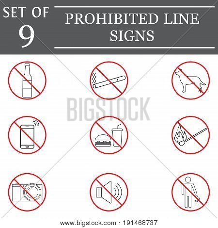 prohibited color line icon set, red forbidden symbols collection icons, ban vector sketches, logo illustrations, linear signs isolated on white background, eps 10.