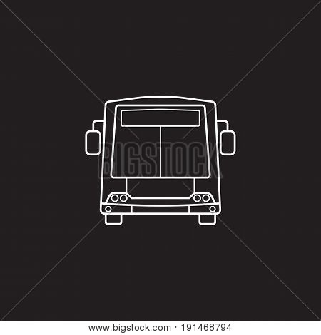 bus icon, public transport symbol vector graphics, a linear pattern on a black background, eps 10.