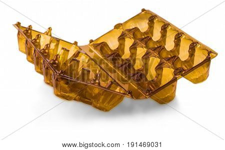 Brown opened plastic box for eggs isolated on white background