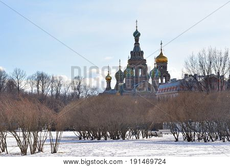 Savior on Spilled Blood Cathedral and The Field of Mars at winter in St. Petersburg Russia.