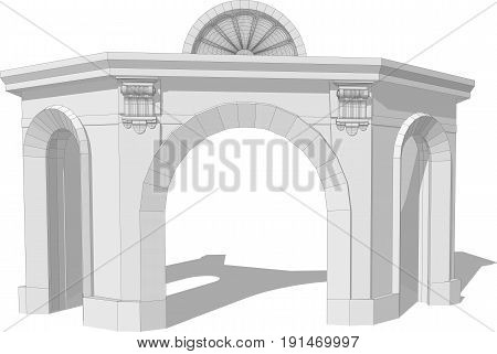 Architectural arch isolated on a white background