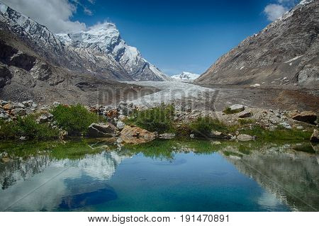 Blue glacial lake: in the mirror of water reflects a bright sky with white clouds green plants along the edge of the water and huge mountains with ice top around Zanskar Himalayas India.