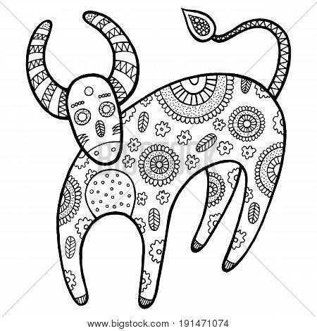 Coloring page with cartoon cow. Farm animal graphic vector illustration for kids and adult coloring book. Antistress zendoodle graphic art.