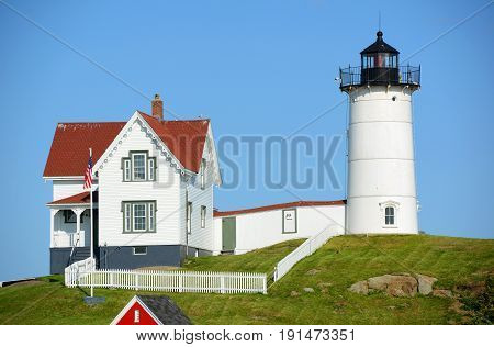Cape Neddick Lighthouse (Nubble Lighthouse) at Old York Village, Maine, USA.