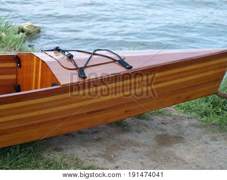 Home made kayak, canoe, SUP board with side. Constructed from cedar fence post.