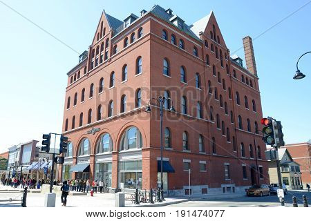 BURLINGTON, VT, USA - APR 6, 2013: Masonic Temple is the tallest building on Church Street Marketplace in the historic district of Burlington, Vermont, USA.