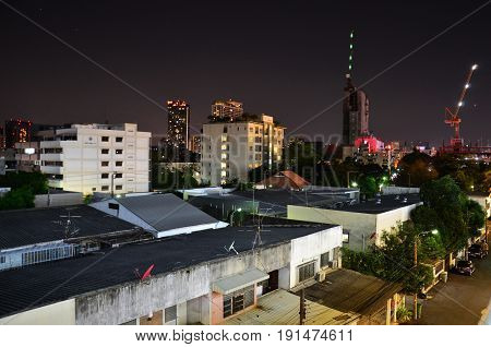 Aerial View Of Landscape And Cityscape Of Nonthaburi City In Night Time