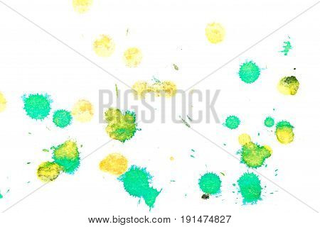 Abstract two-color yellow green ink splash. Ink blots. Elements of design. The water-soluble ink on white paper Leste. Abstractionism