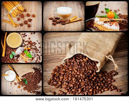 Appetizing collage with coffee beans tasty cake and spices