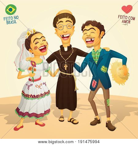 Typical brazilian June Party wedding - Made in Brazil - Made with love - High quality detailed vector cartoon for june party themes.