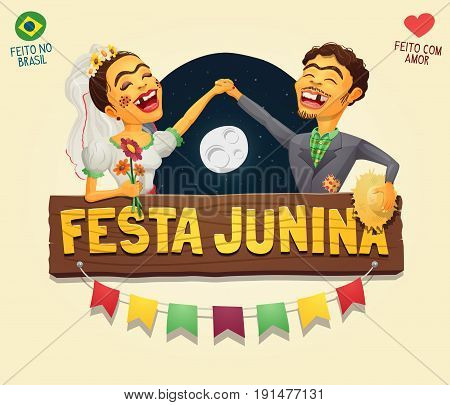 Brazilian June Party wooden sign logo with flags and a hick couple holding hands in front of a starry night sky with full moon - Vector cartoon perfect as a logo or header - Made in Brazil with love