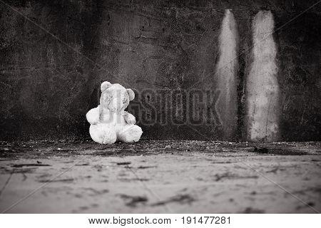 Cute teddy bear abandoned black and white tone
