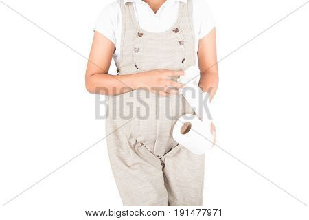 Pregnant women urinary pain on white background