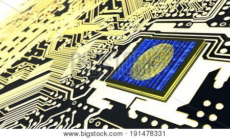 Cybersecurity concept circuit board with binary datastreams and fingerprint sensor on cpu 3D illustration