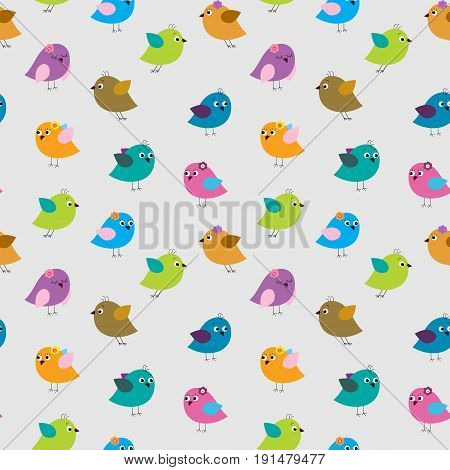 Cute seamless pattern with a different cartoon birds