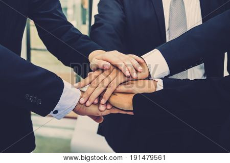 Image of businessman hands coordination each other