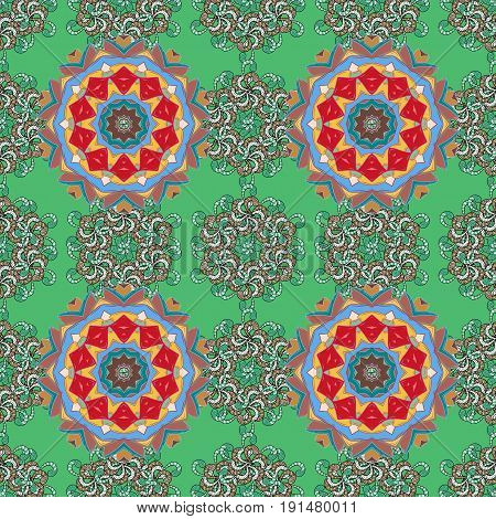 Boho style flower seamless pattern. Background. Tiled mandala design best for print fabric or papper and more. Vector Mandala.