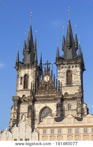 Church of Our Lady before Tyn facade Prague Czech Republic.It is a gothic church and a dominant feature of the Old Town of Prague