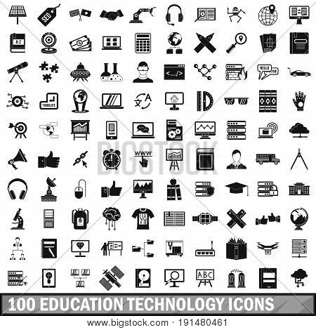 100 education technology icons set in simple style for any design vector illustration