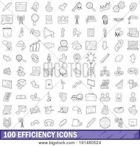 100 efficiency icons set in outline style for any design vector illustration