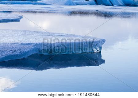 Close up Ice on the lake Iceland winter season natural landscape background