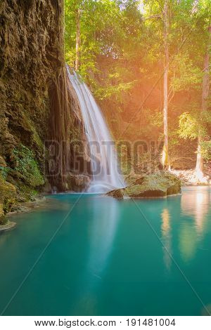 Beautiful natural stram water fall in tropical deep forest natural landscape background