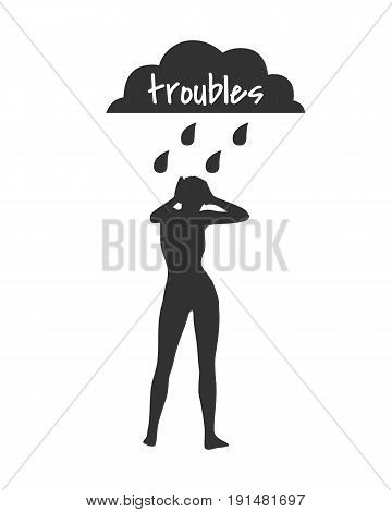 Woman silhouette under stormy rainy clouds on white background. Concept illustration about sadness and depression. Troubles text