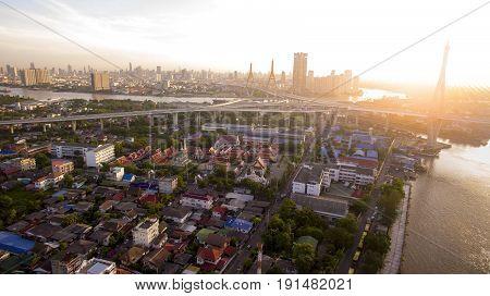 aerial veiw of bhumibol bridge and prapadang district samut prakarn - bangkok thailand