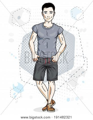 Handsome brunet young man poses on modern background with hexagons. Vector illustration of male. Lifestyle theme clipart.