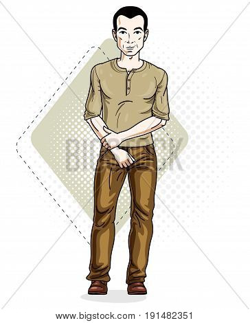 Happy brunet young adult man standing. Vector character wearing casual clothes like jeans and T-shirt.