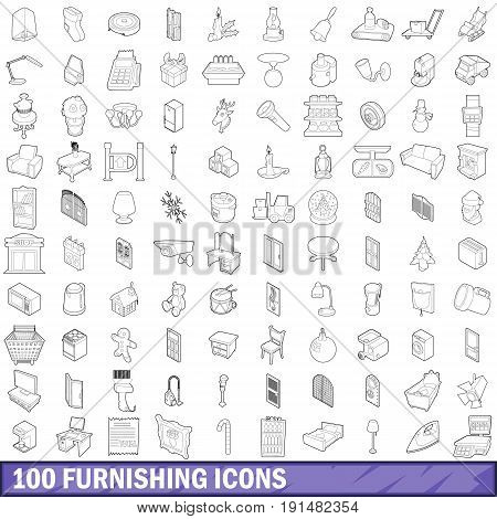 100 furnishing icons set in outline style for any design vector illustration