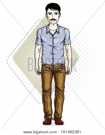 Handsome brunet young man poses on modern background with hexagons. Vector illustration of male with mustaches hipster. Lifestyle theme clipart.