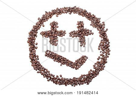 Malicious Smile Smiley Coffee Beans Isolated On A White Background