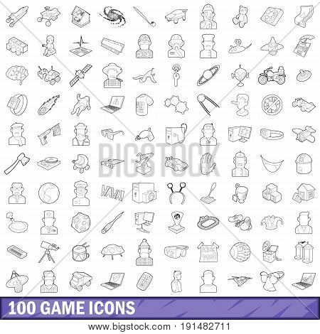 100 game icons set in outline style for any design vector illustration