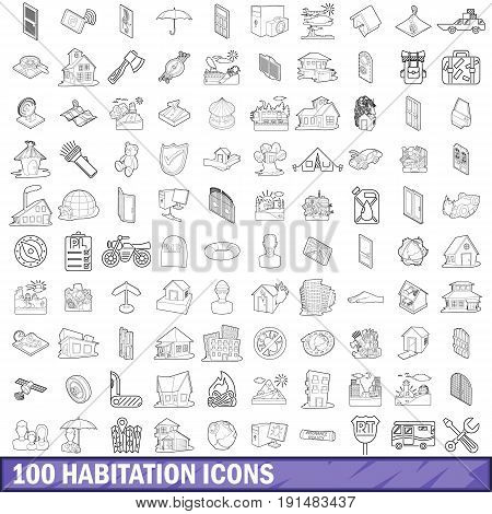 100 habitation icons set in outline style for any design vector illustration