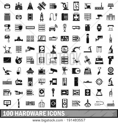 100 hardware icons set in simple style for any design vector illustration