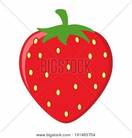 Strawberry Fruit Cartoon Drawing Flat Design. Illustration Isolated On White Background