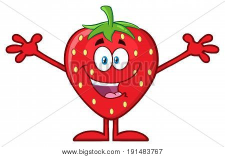 Happy Strawberry Fruit Cartoon Mascot Character With Open Arms For Hugging. Illustration Isolated On White Background