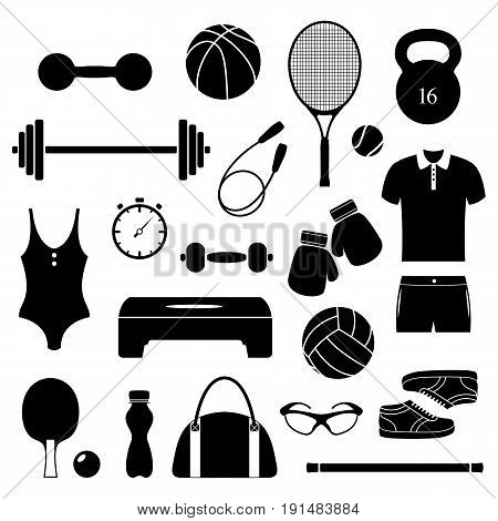 Set of different fitness equipment on white background.Vector illustration.