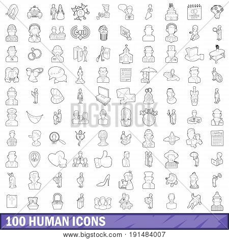 100 human icons set in outline style for any design vector illustration