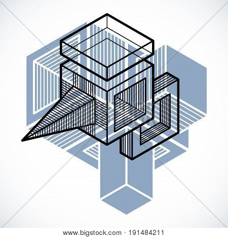 3D design abstract vector dimensional cube shape.