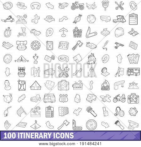 100 itinerary icons set in outline style for any design vector illustration