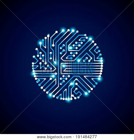 Technology communication luminescent cybernetic element. Vector abstract illustration of neon circuit board in the shape of circle with shine effect.