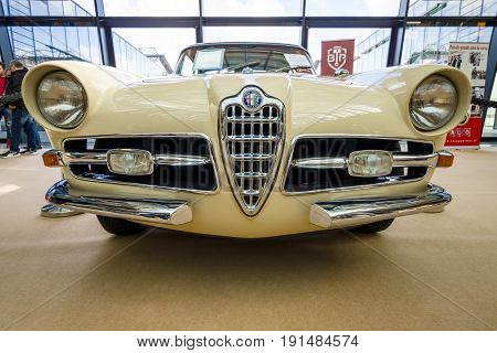 STUTTGART GERMANY - MARCH 02 2017: Sports car Alfa Romeo 1900C Super Sprint Coupe Lugano 1957. Europe's greatest classic car exhibition