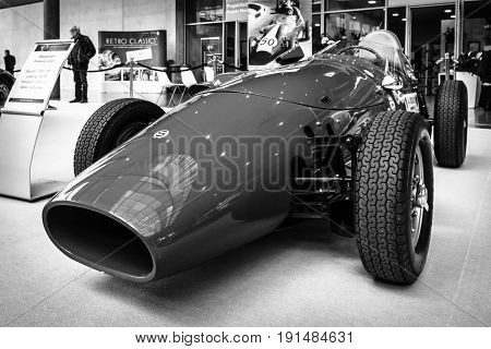 STUTTGART GERMANY - MARCH 02 2017: Sports racing car Stanguellini Formula Junior 1958. Black and white. Europe's greatest classic car exhibition