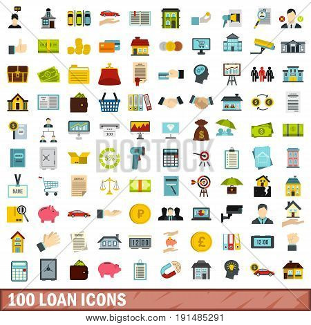 100 loan icons set in flat style for any design vector illustration