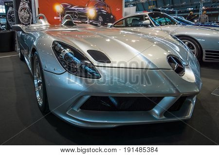 STUTTGART GERMANY - MARCH 02 2017: Grand tourer car Mercedes-Benz SLR McLaren Stirling Moss (limited edition 75 vehicles) 2009. Europe's greatest classic car exhibition