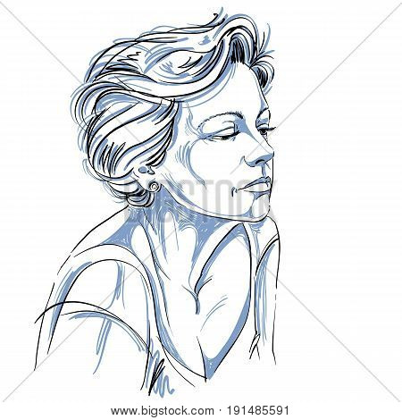 Hand-drawn portrait of white-skin sad woman face emotions theme illustration. Beautiful sorrowful lady posing on white background.